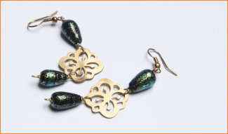 Earrings in Copper and Glass beads