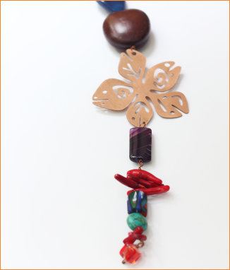 Seed, Copper motif, coral, turquoise, agate and lapiz