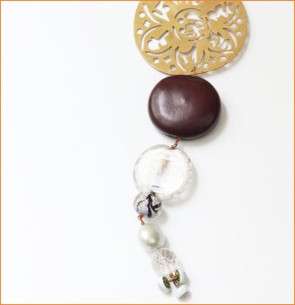 Spiritual motif, seed, glass beads, crystal and pearl